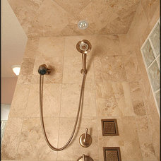Contemporary Bathroom Travertine Shower