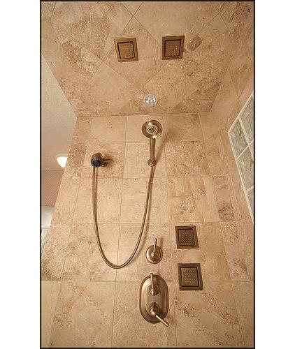 Contemporary Bathroom Travertine Shower