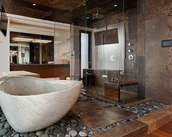 bathroom design ideas, remodels & photos with pebble tile floors