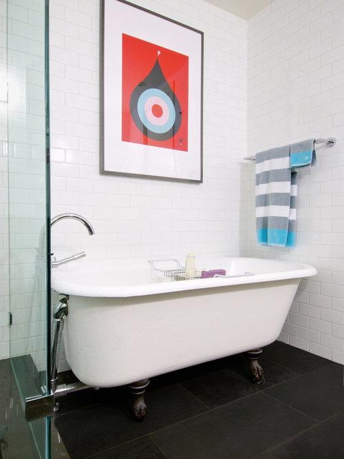 Example Of A Trendy Black Floor Claw Foot Bathtub Design In Toronto
