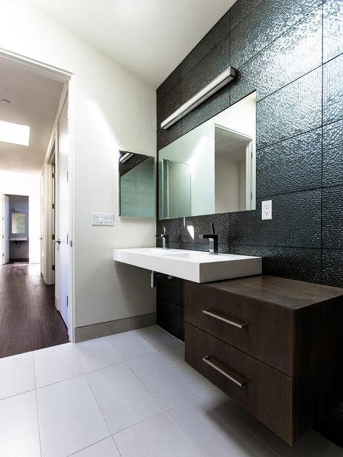 Mid Sized Modern 3/4 Black Tile And Subway Tile Ceramic Floor Bathroom Idea