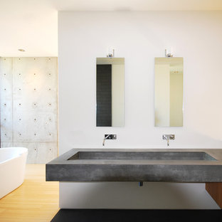 Example of a minimalist freestanding bathtub design in Phoenix with concrete countertops and a trough sink