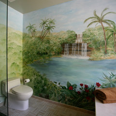 tropical bathroom by SH Interiors