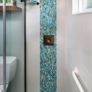 Alcove shower - small tropical blue tile and mosaic tile mosaic tile floor alcove shower idea