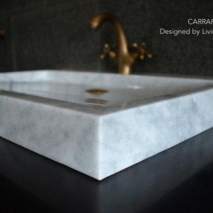 Ispirazione per una stanza da bagno stile americano con lavabo rettangolare