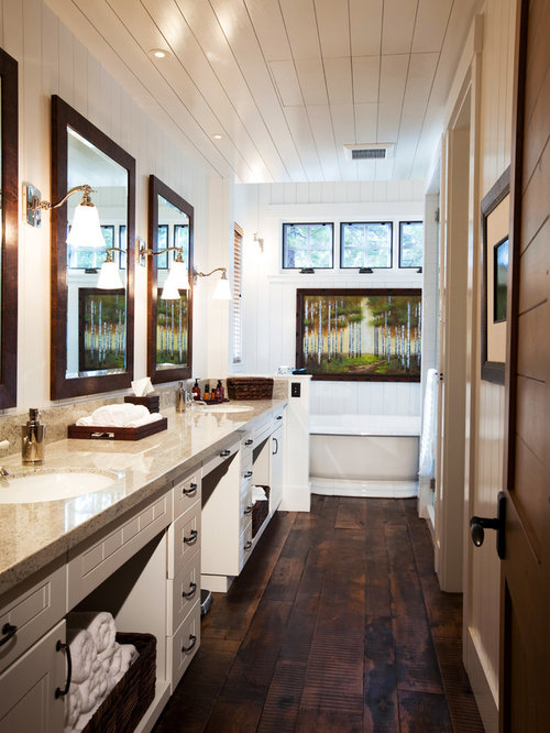 White Rustic Bathroom rustic bathroom with white cabinets ideas, designs & remodel