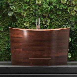 Diseño de cuarto de baño principal, asiático, grande, con bañera japonesa