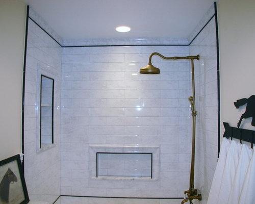 Great Falls Carrara Gris Guest Bathroom - Carrara gris porcelain tile