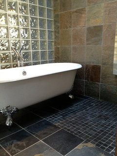 Waterproofing tub inside shower stall on Wet Room With Freestanding Tub  id=21291