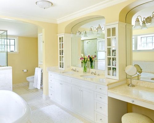 Yellow bathrooms houzz for Yellow bathroom accents