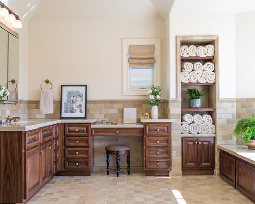 Inspiration For A Large Mediterranean Ensuite Bathroom In Los Angeles With  Raised Panel Cabinets,