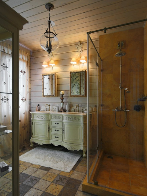 Best bathroom with brown cabinets and orange tile design for Orange and brown bathroom ideas