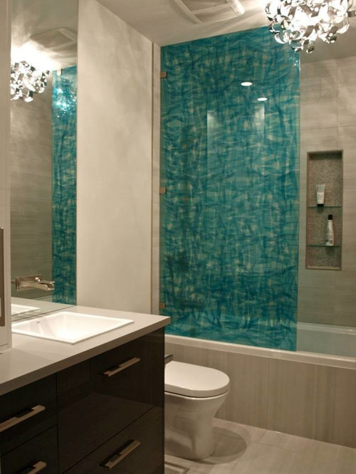 Recessed Shower Niche Bathroom Design Ideas, Remodels & Photos with Laminate Countertops and ...