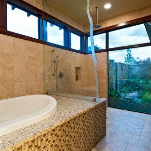 Inspiration for a mediterranean mosaic tile walk-in shower remodel in Austin