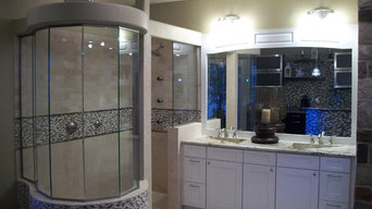 """TWD Remodeling Showroom / Butt Glazed 3/8"""" Thick Glass w/ Bevel Miters"""