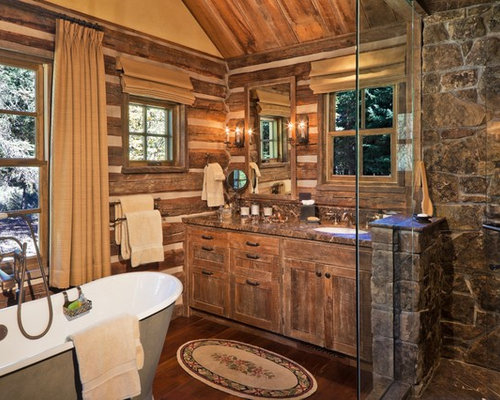 example of a mountain style freestanding bathtub design in other with granite countertops - Bathroom Ideas Log Homes