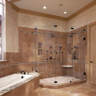 Inspiration for a medium sized mediterranean ensuite bathroom in Dallas with shaker cabinets, white cabinets, a built-in bath, a corner shower, beige walls, travertine flooring, a submerged sink, brown floors and a hinged door.