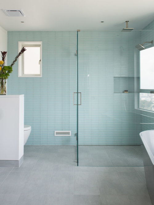 small minimalist gray tile and glass tile porcelain floor bathroom photo in san francisco with an
