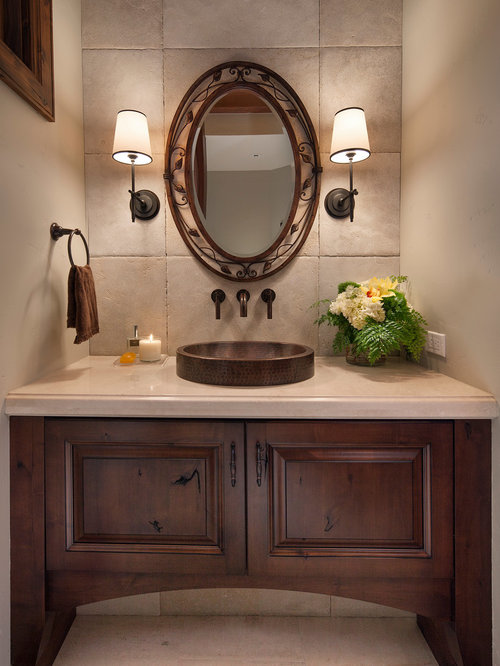 Bathroom Design Ideas Renovations Photos With A Vessel Sink And Raised Panel Cabinets