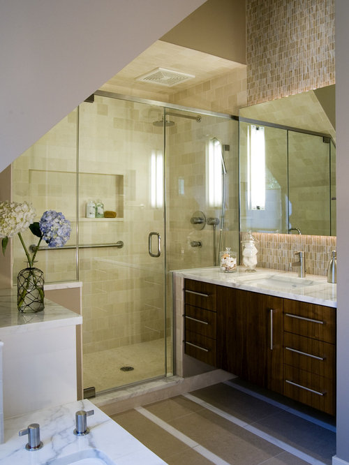 Example of a trendy mosaic tile bathroom design in Chicago with marble  countertops