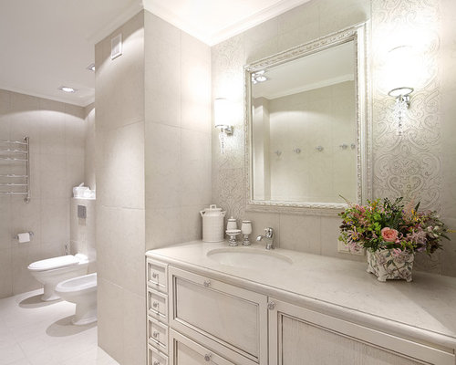 traditional white tile bathroom idea in moscow with recessed panel cabinets white cabinets - Recessed Panel Bathroom Decoration