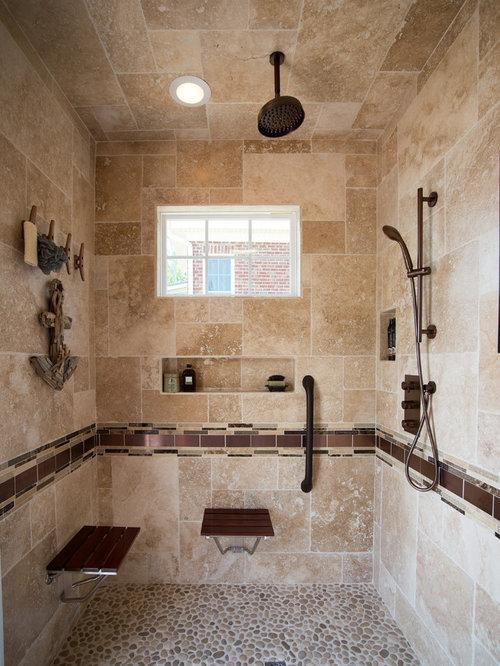 Inspiration For A Timeless Beige Tile Pebble Tile Floor Doorless Shower  Remodel In Other With Beige