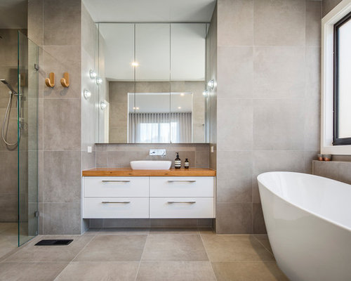 Inspiration For A Contemporary Bathroom In Melbourne With Flat Panel  Cabinets, White Cabinets,