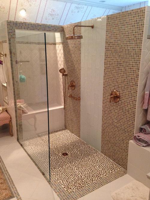 eklektische badezimmer mit kiesel bodenfliesen design. Black Bedroom Furniture Sets. Home Design Ideas