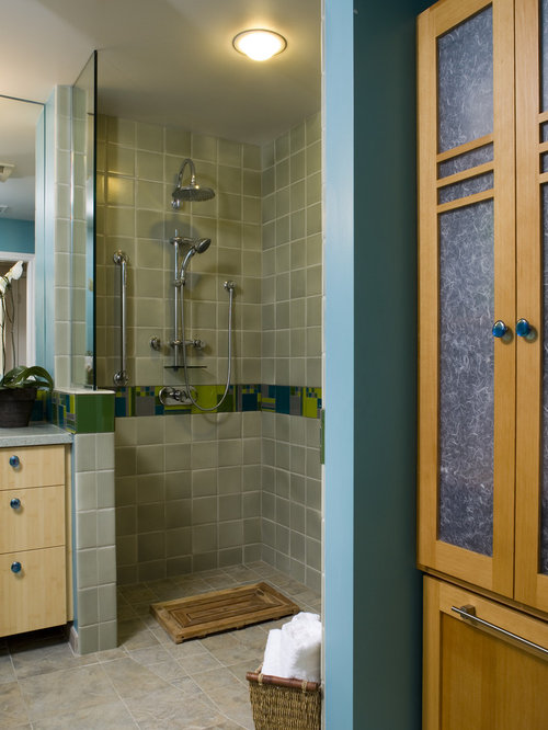example of a trendy walk in shower design in san francisco - Handicap Accessible Bathroom Design