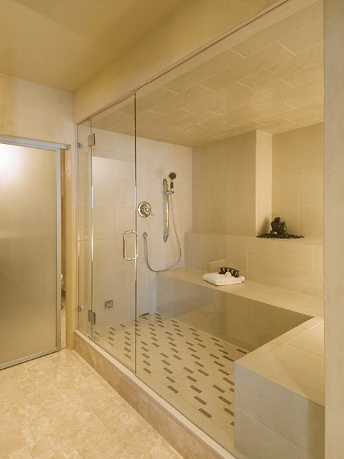 Example Of A Mid Sized Minimalist Beige Tile And Porcelain Tile Marble  Floor Sauna Design