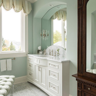 Inspiration for a timeless bathroom remodel in Minneapolis with white cabinets and blue walls