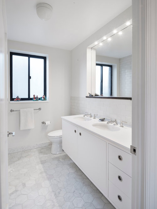 Contemporary White Tile And Subway Tile Bathroom Idea In New York With An  Undermount Sink,