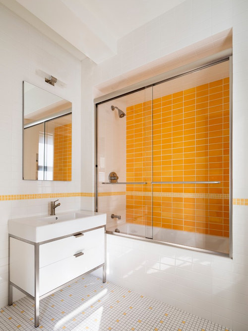 contemporary yellow tile multicolored floor bathroom idea in new york with flat panel cabinets - Yellow Tile Bathroom Ideas