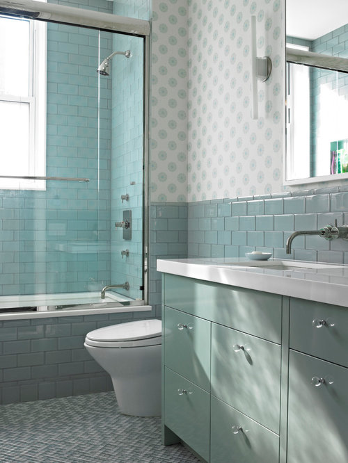 blue bathroom vanity cabinet. Example of a trendy blue tile bathroom design in New York with flat panel  cabinets Blue Bathroom Vanity Houzz