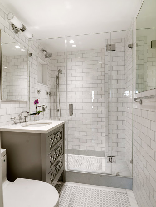 example of a small transitional master bathroom design in new york with furniture like cabinets