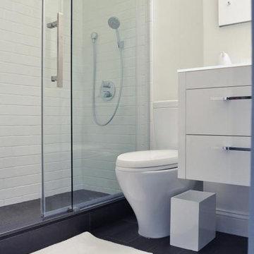 Upper West Side, NYC: White Modern Bathroom Remodel