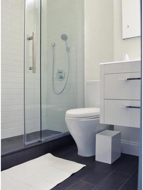 Salle d\'eau moderne avec un sol en vinyl : Photos et idées déco de ...