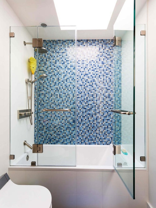 Bathroom   Mid Sized Transitional 3/4 Blue Tile And Mosaic Tile Bathroom  Idea