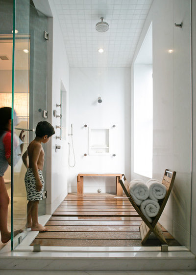 Contemporary Bathroom by Betty Wasserman - 18 Knockout Ideas For Wooden Floor Showers