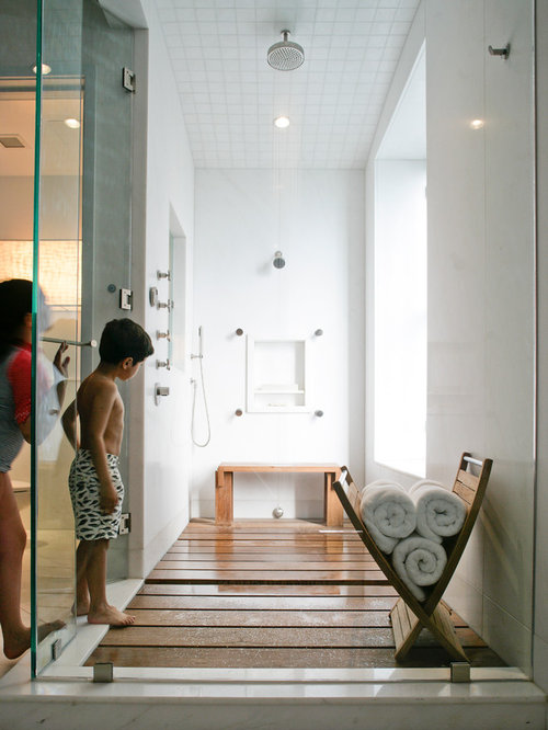 Perfect Inspiration For A Mid Sized Contemporary 3/4 Medium Tone Wood Floor  Doorless Shower