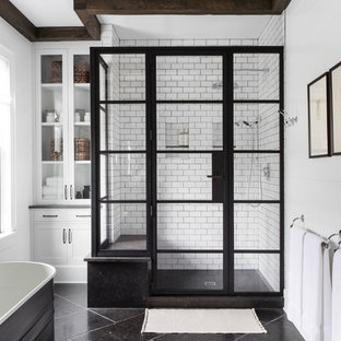 Example of a large cottage master bathroom design in New York