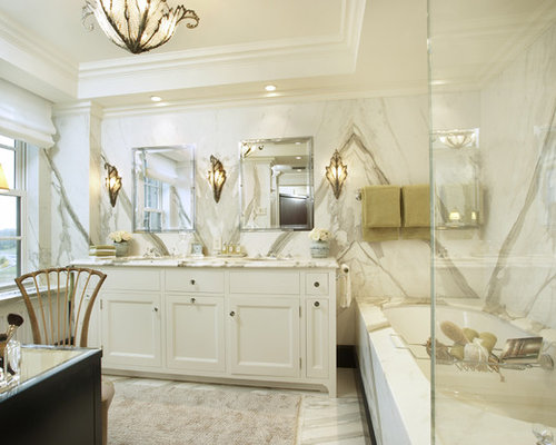 Mid Sized Transitional Master Stone Tile Marble Floor Bathroom Photo In New  York With Recessed