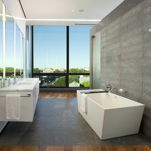 Minimalist freestanding bathtub photo in Minneapolis with marble countertops