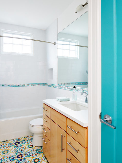 transitional master blue tile mosaic tile floor and multicolored floor bathroom photo in dc metro with - Bathtub Shower Combo Design Ideas