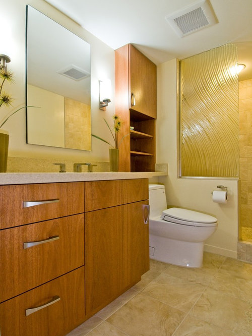 Inspiration for a contemporary doorless shower remodel in Hawaii