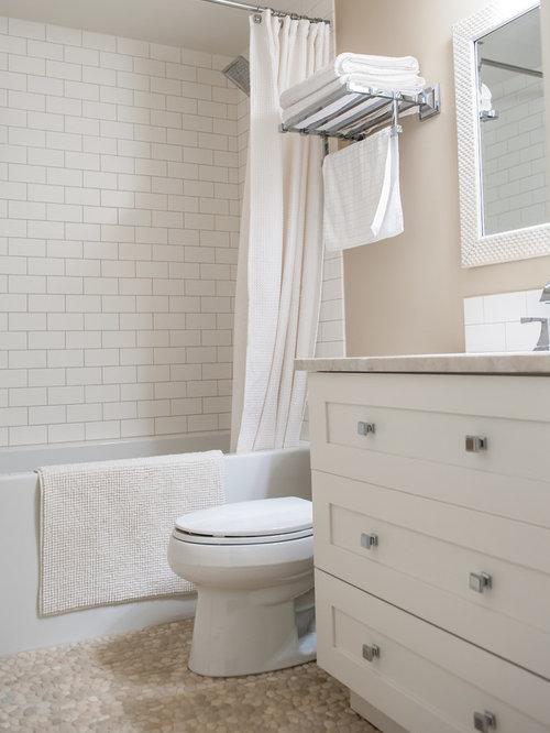 best farmhouse bathroom with pebble tile floors design ideas