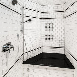 Inspiration For A Timeless White Tile And Subway Alcove Shower Remodel In Denver