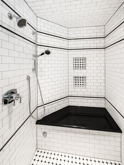 inspiration for a timeless white tile and subway tile alcove shower remodel in denver