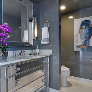 Inspiration for a contemporary marble floor bathroom remodel in Chicago with an undermount sink, gray walls and marble countertops