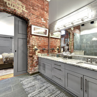 Urban master gray floor bathroom photo in Charleston with shaker cabinets, gray cabinets, gray walls, an undermount sink and multicolored countertops